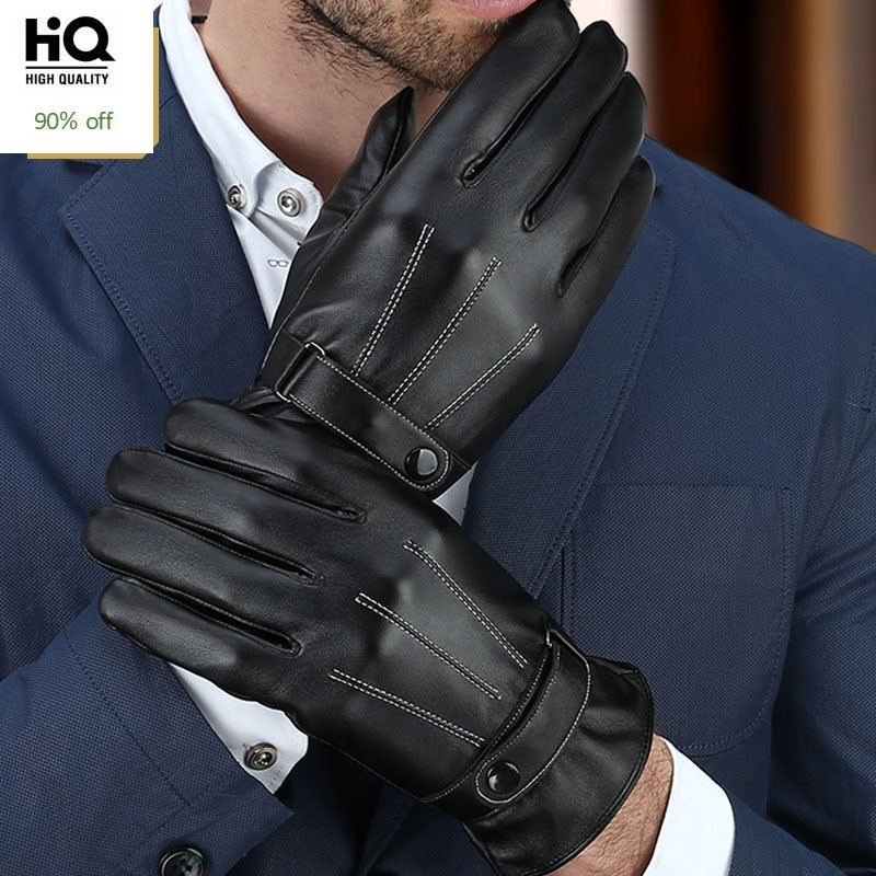 2020 High Quality New Male Gloves Fashion Natural Leather Man Short Gloves Solid Driving Fleece Lining Man Winter Gloves