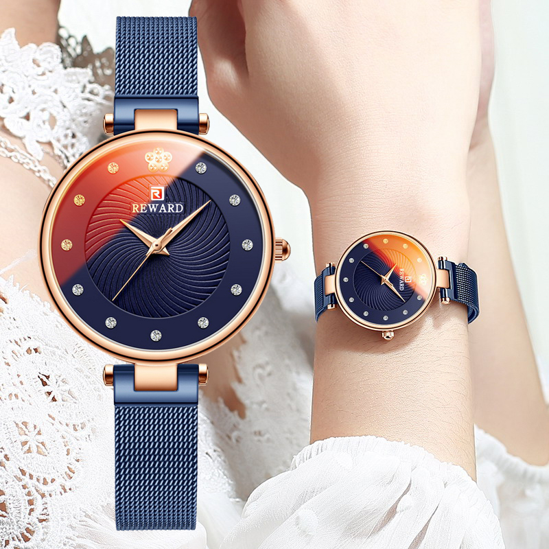 REWARD Luxury Ultra-thin Womens Watches Fashion Color Glass Analog Quartz Watch Women Blue Mesh Casual Waterproof Wrist Watch