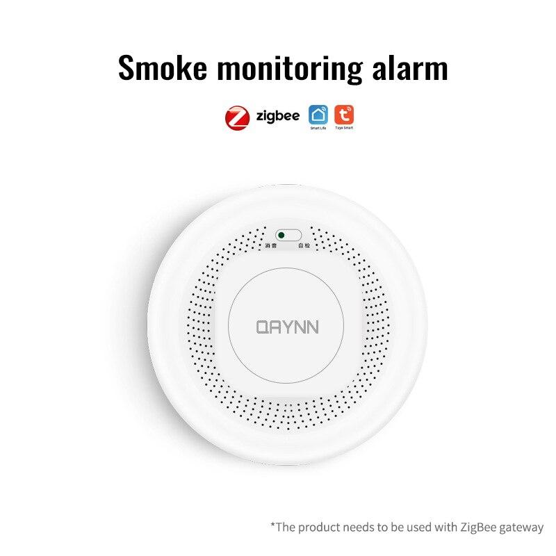 ZigBee Tuya Smoke Detector Sensor Wireless Smoke Fire Alarm Sensor Realtime Dual-sensor Smoke Detector Smart Home Alarm Security