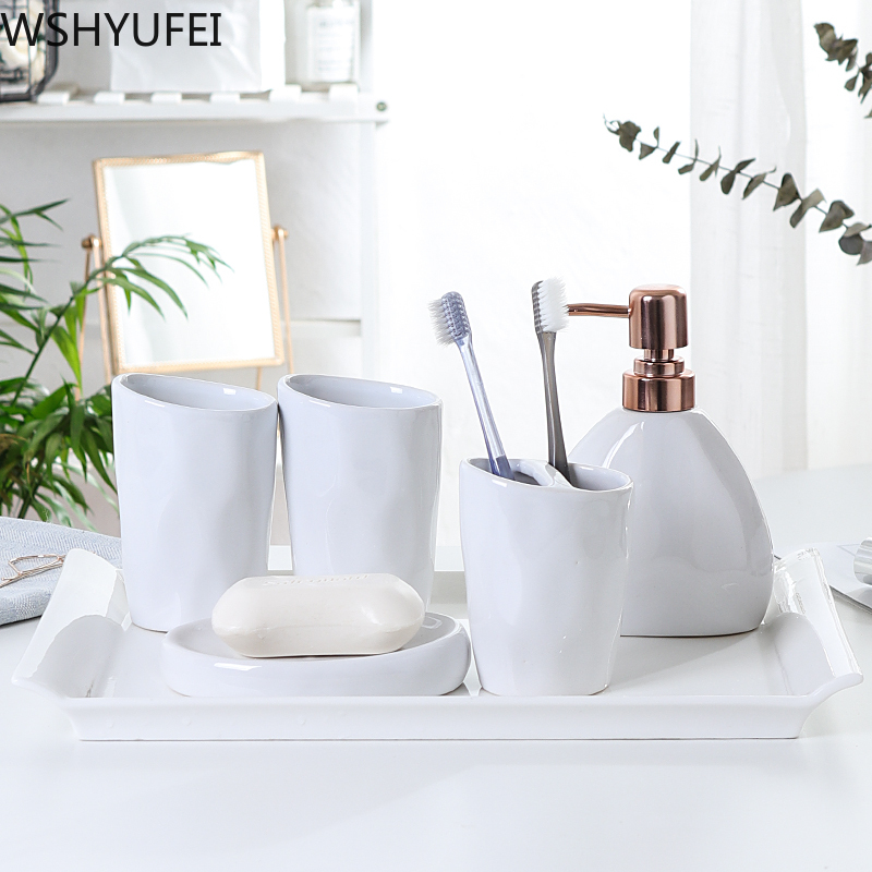 Nordic Simple dumb white ceramic Bathroom Accessories Set bathroom suite Couple mouthwash cup Bathroom decoration Supplies