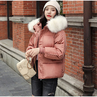2019 Winter Hooded Parkas Women Big Fake Fur Down Cotton Jacket Coat Ladies Warm Loose Cotton Padded Coats Female Short Overcoat