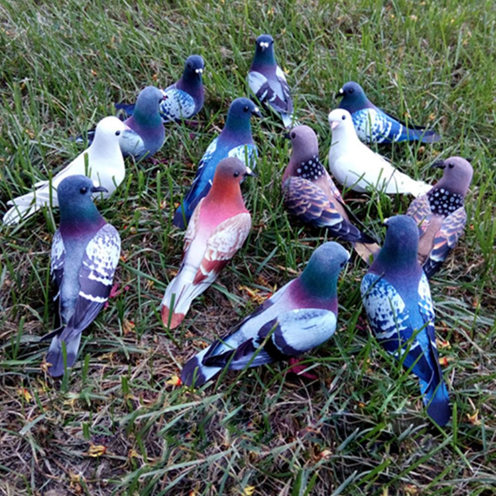 Feathered Artificial Pigeon Birds Simulation Dove Models Garden Ornaments Miniature Figurines for Home Wedding Decoration Home & Garden