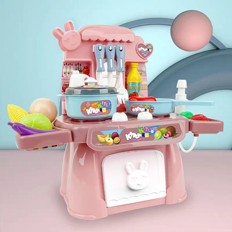 Baby Miniature Kitchen Plastic Pretend Play Food Children Toys With Music Light Kids Cooking Toy Set For Girls Gifts