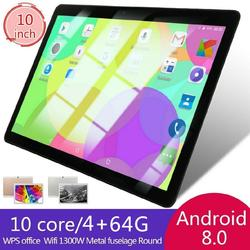 10 pollici Tablet PC 4 + 64GB Android 8.0 Dual SIM Doppia Fotocamera GPS Wi-Fi Phablet Nuovo Android tablet Pad Dalla Fabbrica