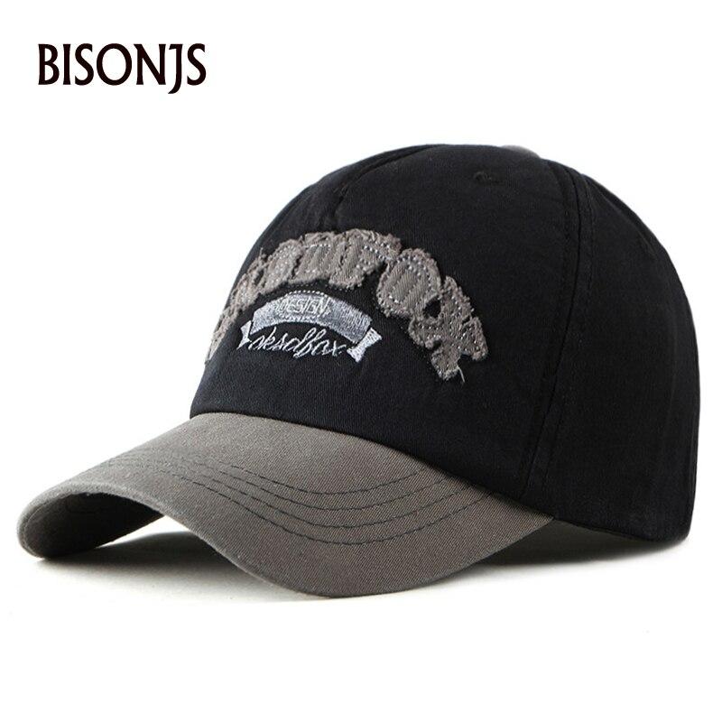 BISONJS 2020 новая хлопковая мужская бейсбольная кепка с буквенным принтом, женская уличная летняя бейсболка, Модные Винтажные шляпы для грузови...