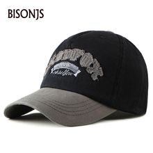 BISONJS 2020 New Cotton Letter Embroidery Men Baseball Cap Women Outdoor Summer Snapback Caps Fashion Vintage Truck hats Sun Hat