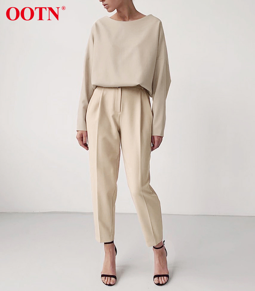 Hf06cd17646854624a5302b8c855d5528w - OOTN Casual High Waist Khaki Pants Women Summer Spring Brown Ladies Office Trousers Zipper Pocket Solid Female Pencil Pants