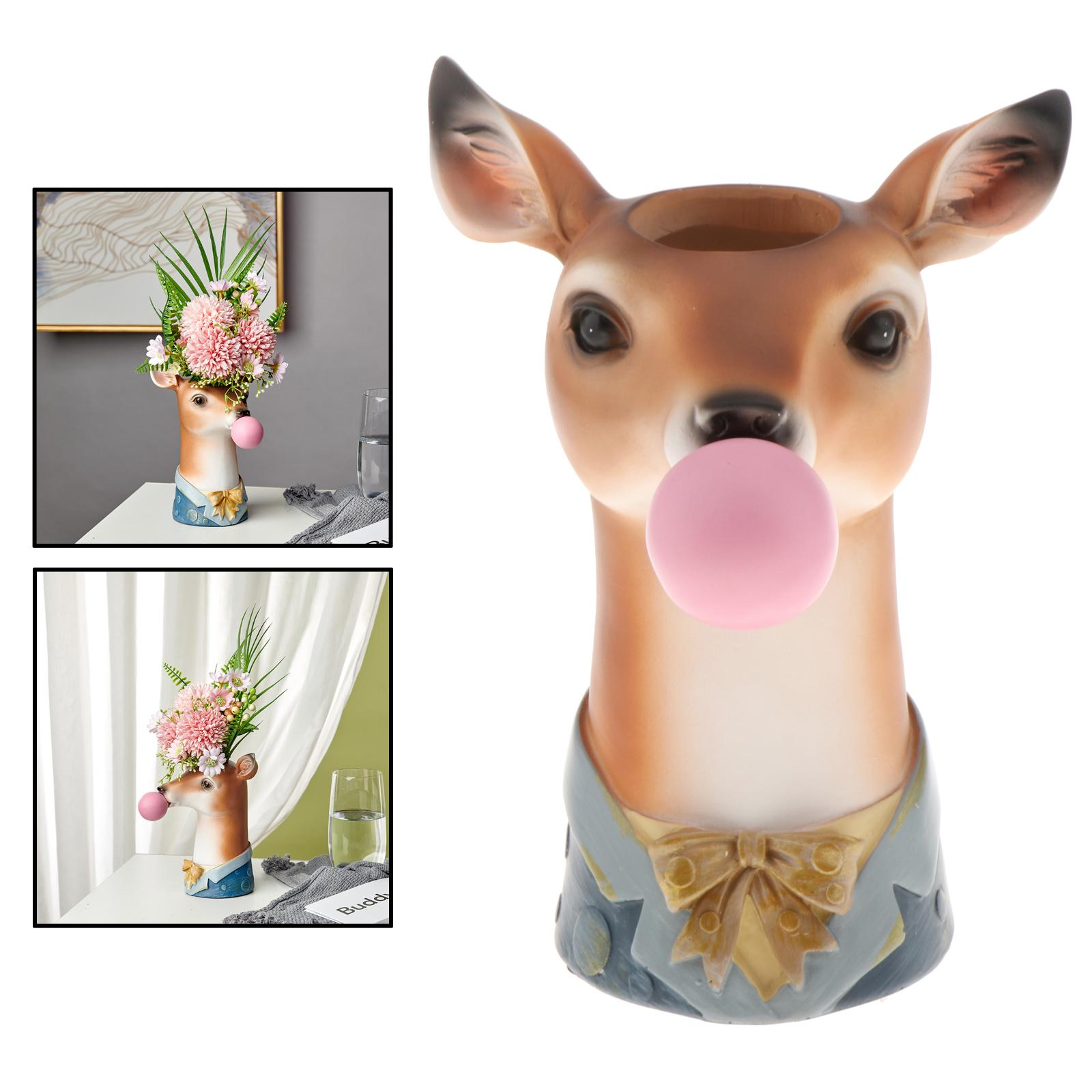 Nordic смола животное голова форма цветок горшок статуя скульптуры фигура растение сушеные цветы горшок поделки гостиная комната украшение