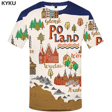 KYKU City T-shirt Men Poland Tshirt Printed Cartoon Funny T shirts Tree Anime Clothes Tshirts Casual Short Sleeve T shirts(China)