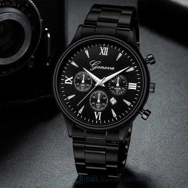 Black Wrist Watch Men Watches Business Fashion New Wristwatch Stainless Steel Male Quartz Watch For Men Clock Hour With Calendar