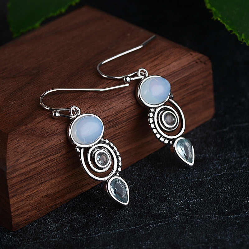 Bague Ringen vintage 925 pendientes de plata de ley con Topacio Azul pendientes colgantes para la joyería del partido del regalo de las mujeres