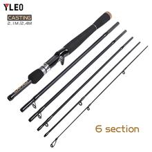 YLEO Fishing Rod Carbon Spinning Telescopic 2.1 2.4M Super Hard Hand Lure Carp Rods