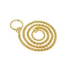 Pet Dog Necklace Copper Chain Light Decorative Snake Choker Training Show Accessories 2 Colors 7 Sizes