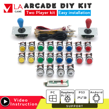 2 player diy kit zero delay usb encoder to PC Rasberry PI sanwa joystick arcade led buttons 30mm console mame game console