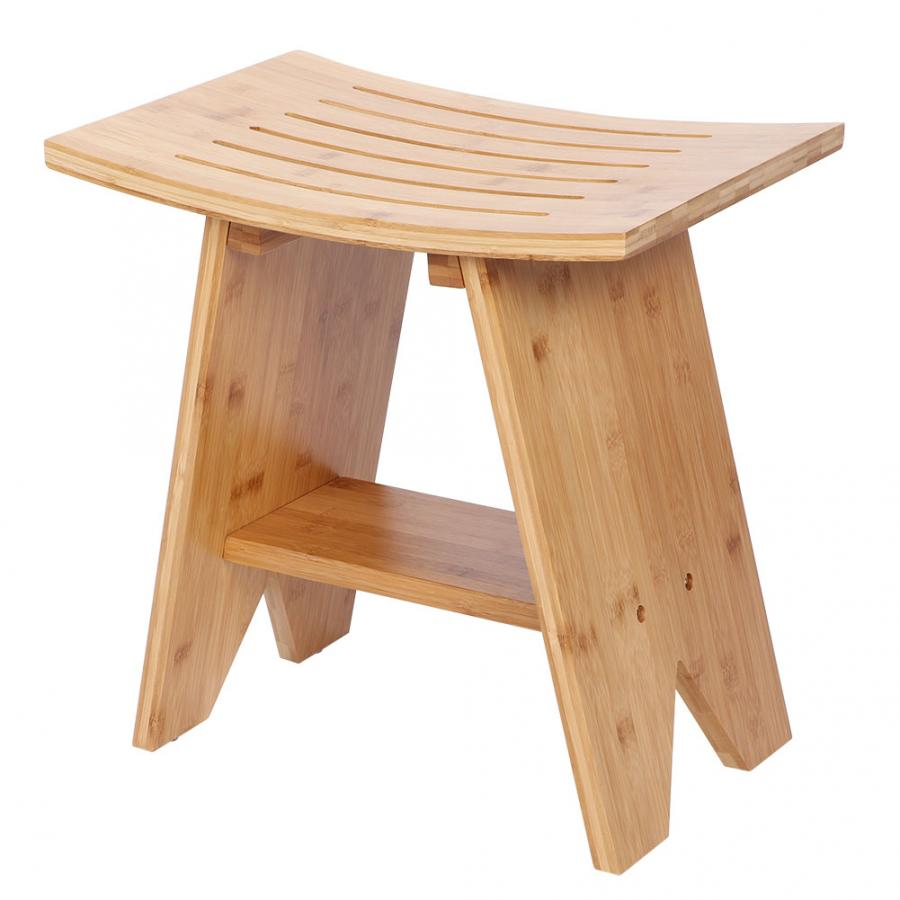 Bamboo Shower Stool Bathroom Spa Bath