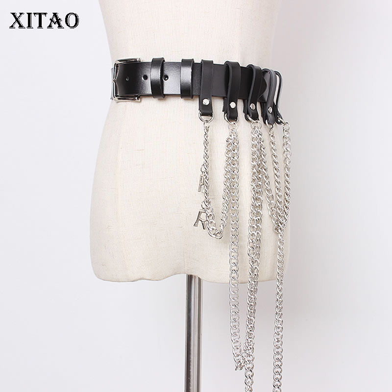 XITAO Fashion Black Chain Women High Waist Cummerbunds Women Clothes 2019 Accessories Personality Trend Ladies Autumn XJ1990