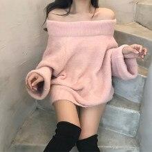 Camisola de malha fora do ombro pullovers camisola para as mulheres manga longa fêmea jumper rosa branco sexy roupas novo 2020 slash neck