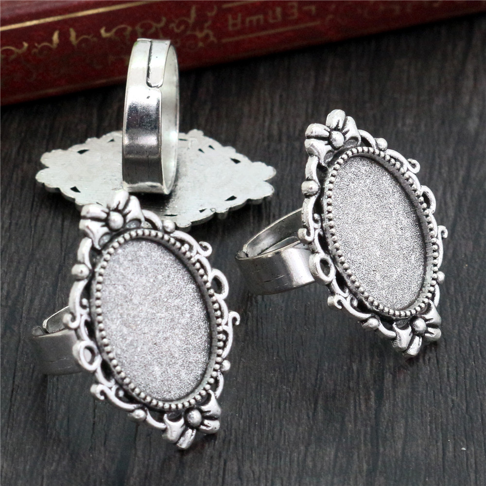 13x18mm 5pcs Antique Silver Plated Color Plated Brass Oval Adjustable Ring Settings Blank/Base,Fit 13x18mm Glass Cabochons K6-09