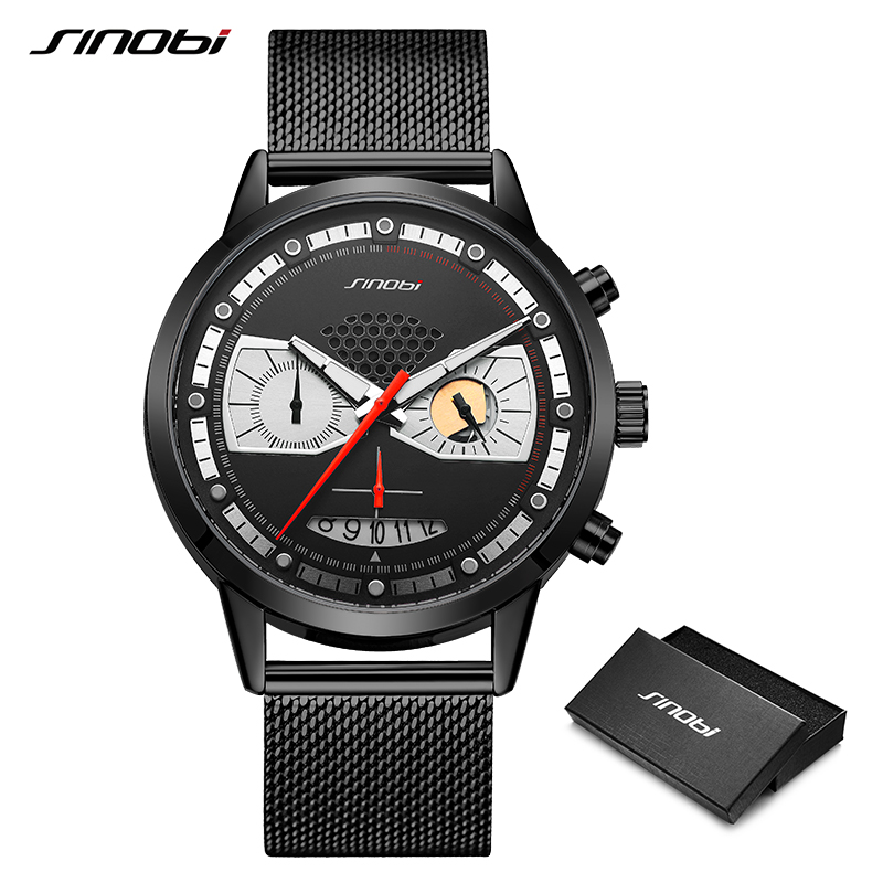 SINOBI Fashion Men Watches Detective Creative Design Man Casual Sports Chronograph Quartz Clock Stainless Steel Waterproof Watch
