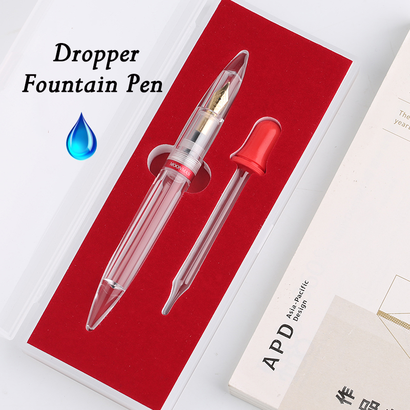 Moonman M2 Dropper Fountain Pen Fully Transparent Large-Capacity Ink Storing Iridium Point 0.38/0.5mm Fashion Writing Gift Set