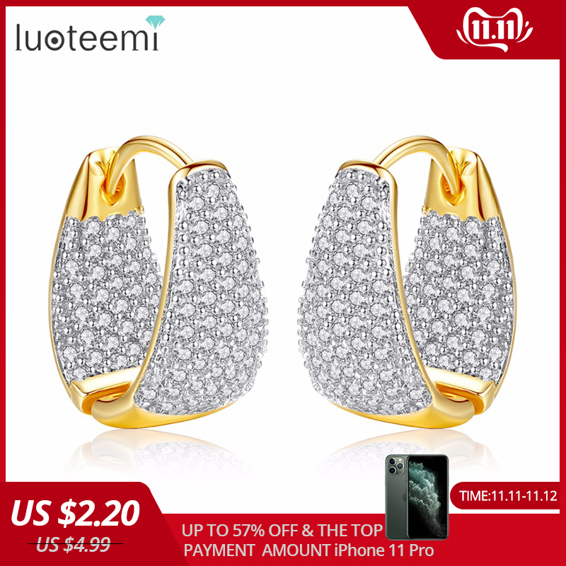 LUOTEEMI Grace Refinement Fashion Vogue Gold Color Clear Stud Earrings Paved Micro AAA Cubic Zircon Ear Hoop Jewelry for Women
