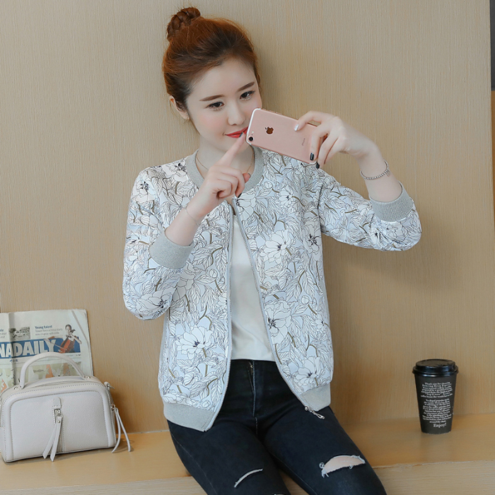 2019 Flower Print Baseball   Basic     Jacket   Round Collar Button Thin Bomber   Jackets   Women's Long Sleeves Coat   Jacket   Plus Size