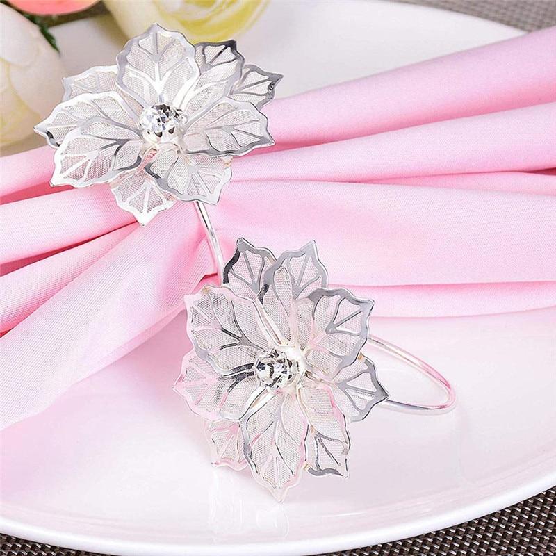 BRIDAY-servilletas para servilleta de boda, soporte para Copa, flor, diamante, mesa de banquete, decoración, adorno, hebilla de cortina, novedad