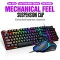 Игровая клавиатура Tf200 Rainbow с Rgb-подсветкой, эргономичная Usb клавиатура и мышь для ноутбука, комбо