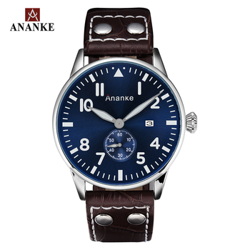 Ananke Mens Watches Military Business Waterproof Sports Quartz Chronograph Leather Timepiece with Date Relogio Masculino