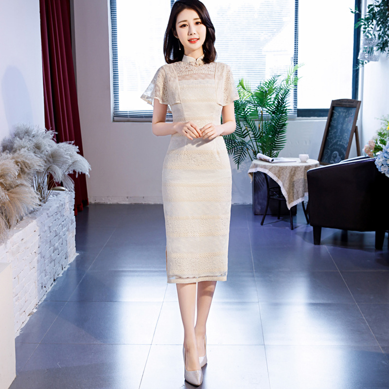2020 Chinese Dress Traditional Bodycon Cheongsam Embroidery Wedding Lace Modern Woman Long Qipao Sexy Oriental Formal Qipao