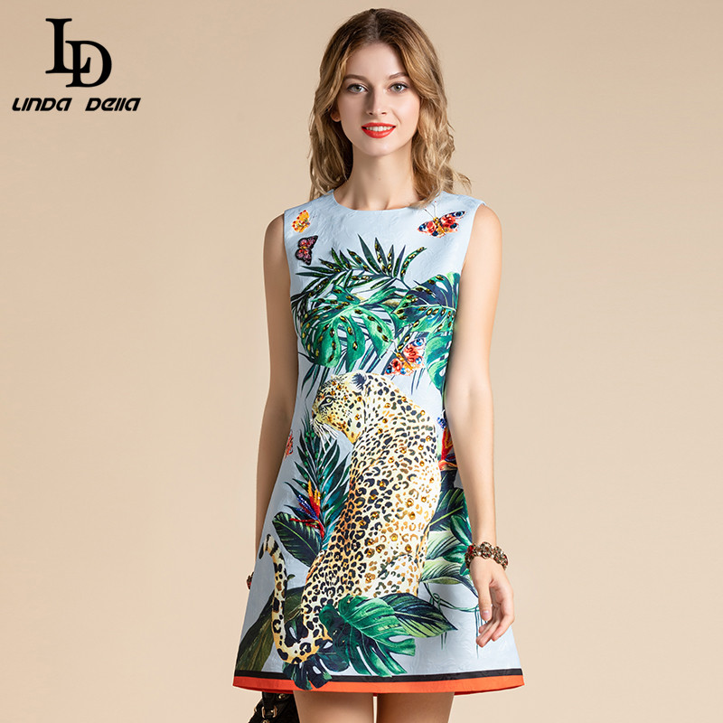 LD LINDA DELLA модное летнее платье для женщин без рукавов с животным тигром джунгли цветочный принт Бисероплетение Мини Короткие платья vestido Платья      АлиЭкспресс