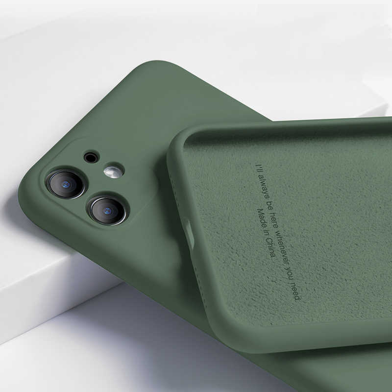 Voor Iphone 11 Vloeibare Siliconen Matte Soft Cover Voor Iphone 11 Pro Xs Max Xr 8 7 6 6 S plus Flexibele Shockproof Case Midnight Green