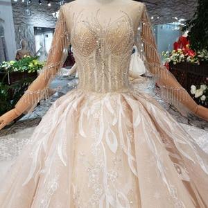 Image 5 - BGW HT566 lüks yeni moda düğün elbisesi ile kraliyet tren el yapımı yüksek kalite uzun tül püskül balo gelinlik 2020