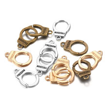 10 компл/упак Подвески наручники свобода Разъем Античная разноцветная
