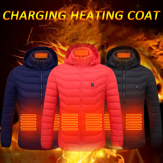 Electric Heated Vest Jackets USB Electric Heating Hooded Cotton Coat Camping Hiking Hunting Thermal Warmer Jacket Winter Outdoor 5