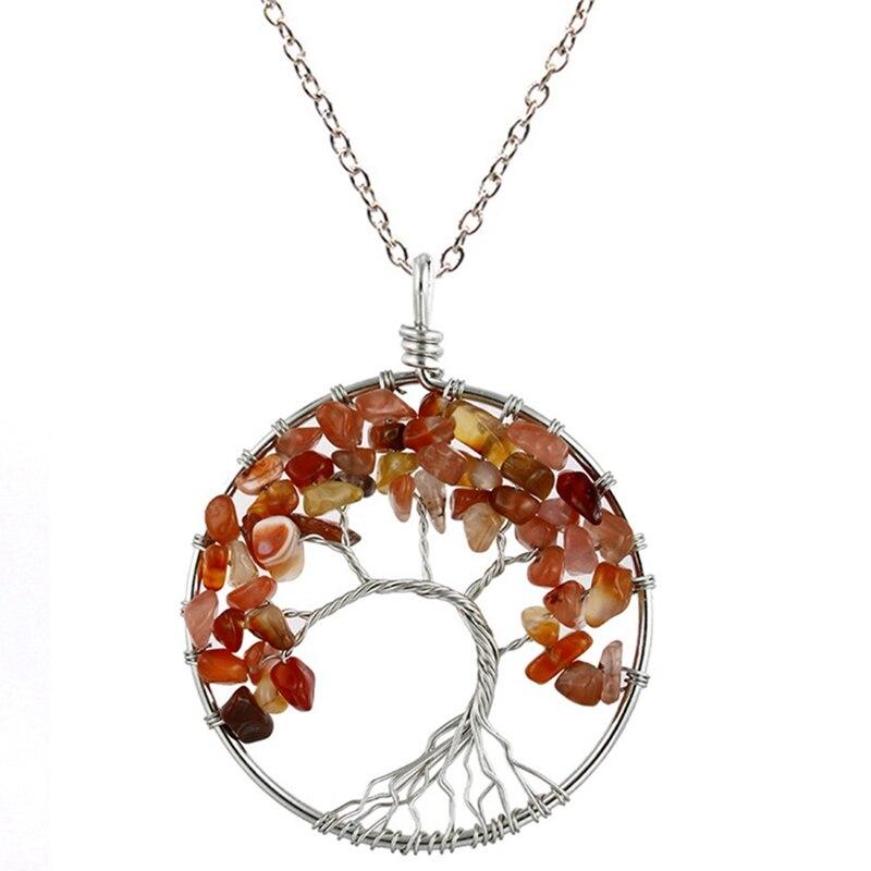 7 Чакра кварцевый и из натурального камня Древо жизни кулон ожерелье для женщин кристалл натуральный камень ожерелье s Подвески рейки ювелирные изделия - Окраска металла: RD