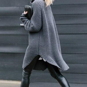 Image 2 - Twotwinstyle韓国側分割女性のセータータートルネック長袖暖かい厚手の女性のセーター2020秋冬ファッション新
