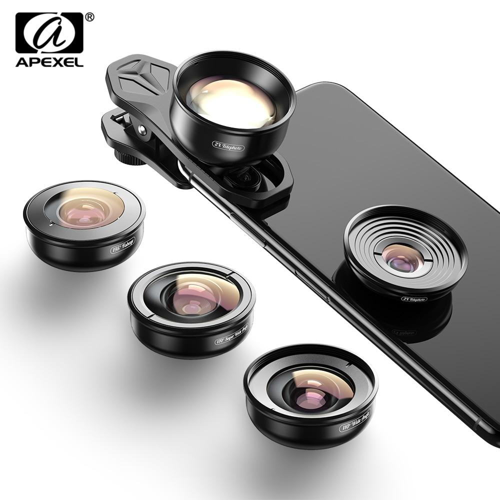 APEXEL 4K Lens Kit 5 in 1 Camera Portrait Wide Macro Lens Super Fisheye Lens CPL Filter for Mobile iPhone Samsung all cellphones