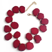 European  natural stone necklace red stoneshort decoration