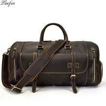 Мужская Дорожная сумка из толстой кожи с карманом для обуви 20 дюймов, дизайн, натуральная кожа, сумка для выходных, винтажная, Crazy Horse, кожаная сумка-мессенджер