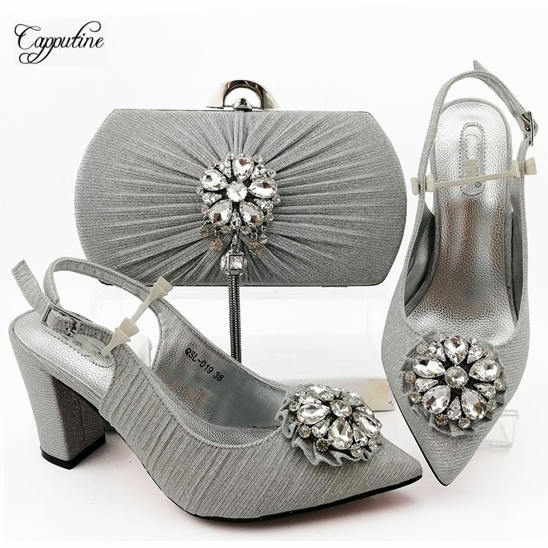 New fashion silver sandal shoes and purse bag set perfect matching for evening dress QSL019, Heel Height 9CM