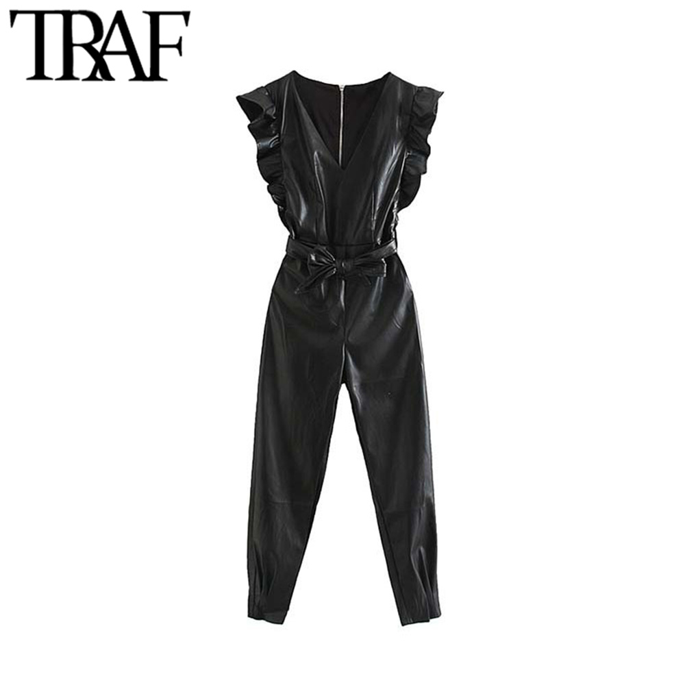 TRAF Women Vintage Stylish PU Faux Leather Ruffles Jumpsuits Fashion V Neck Back Zipper With Sashes Female Playsuits Mujer