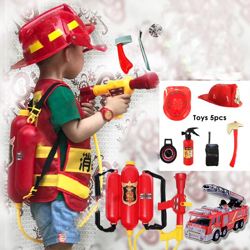 Детский костюм пожарного на Хэллоуин, косплей, униформа полицейского на день детей, игрушечный набор, автомобиль для маленьких девочек и ма...