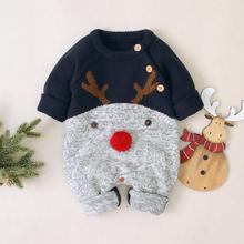 Christmas Rompers Reindeer Knitted Infantil Jumpsuits Toddler Girls