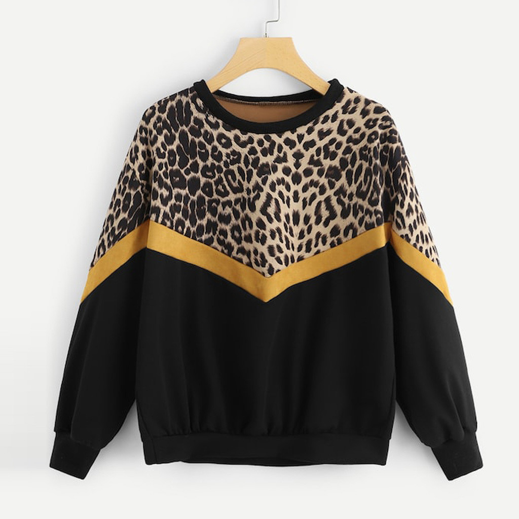 Womens Leopard Hoodies Casual Long Sleeve Patchwork Leopard Print O-Neck Tops Sweatshirt Pullover Autumn And Winter Hoodies