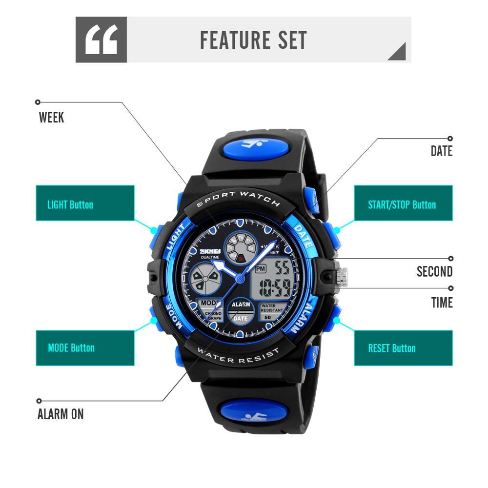 SKMEI 5Bar Водонепроницаемый Хронограф Световой Детский Цифровой Наручные Часы Дети Спорт Часы Мальчики Девочки Электронные Кварцевые Часы