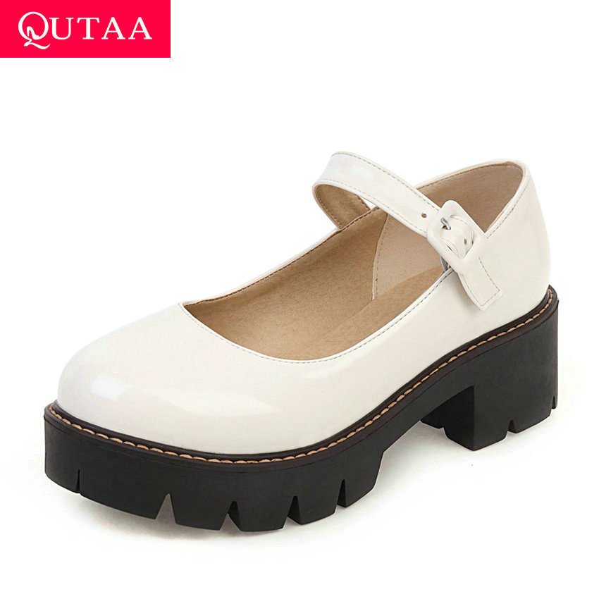 QUTAA 2020 PU Leather Square Heel Single Shoes Spring Autumn Buckle Ladies Pumps Casual Round Toe Shallow Women Shoes Size 34-43