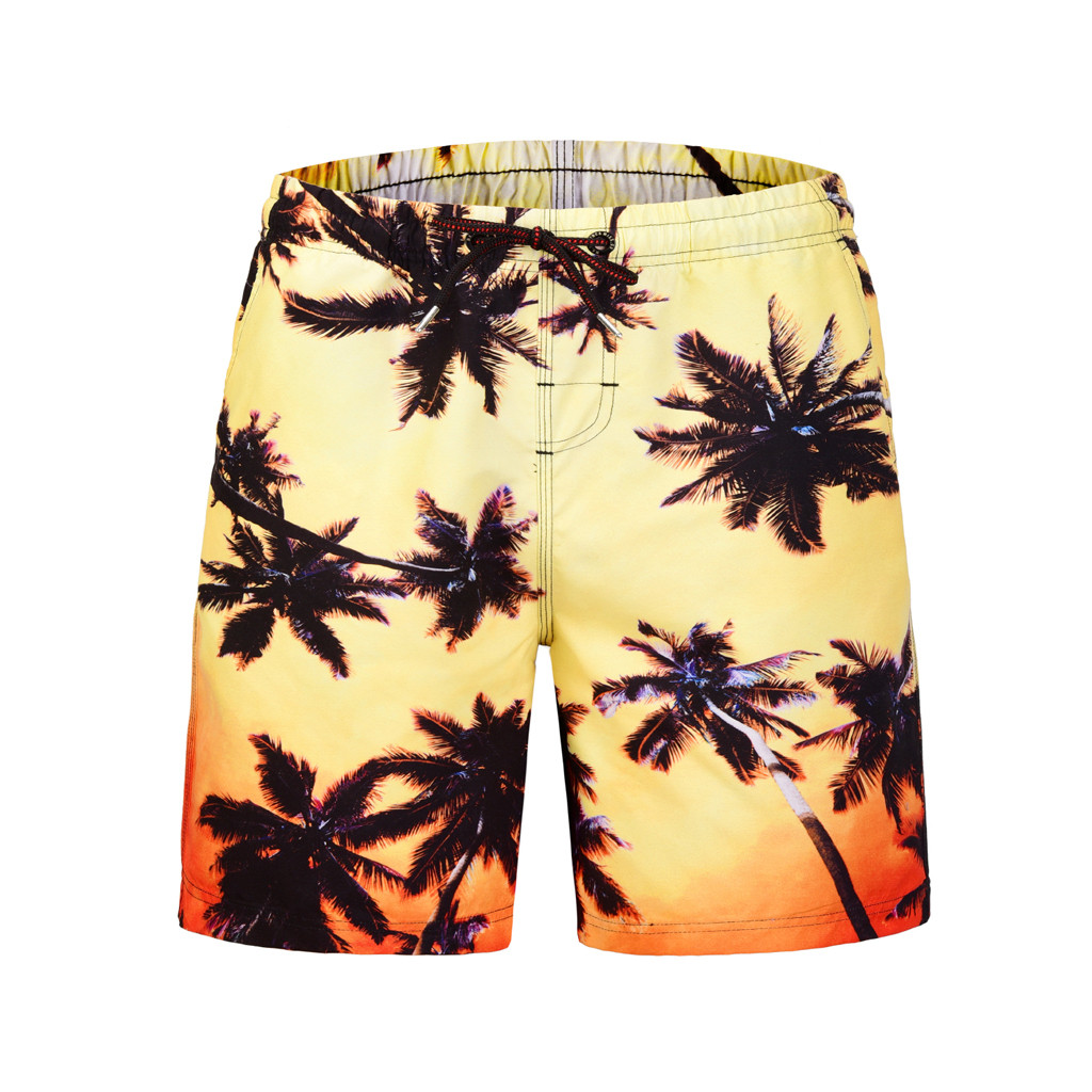 New Arrival Floral Mens Board Shorts Men Beach Swimsuit Short Male Bermudas Beachwear Bathing Suit Quick Dry Size M,L,XL,2XL D19