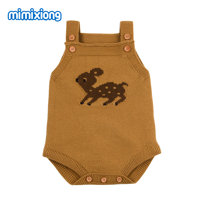 Cute Newborn Baby Bodysuits For Girl Body Tops Spring Autumn Sleeveless Infant Boy Onesie Toddler Kids Knitted Clothes 0-24Month