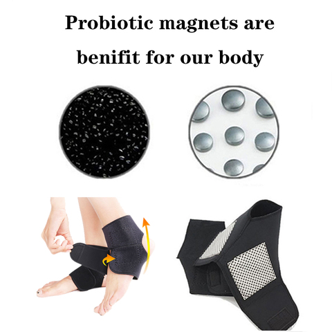2pcs Self-heating Tourmaline Far Infrared Magnetic Therapy Ankle Care Belt Support Heel Brace Massager Foot Health Care Multan